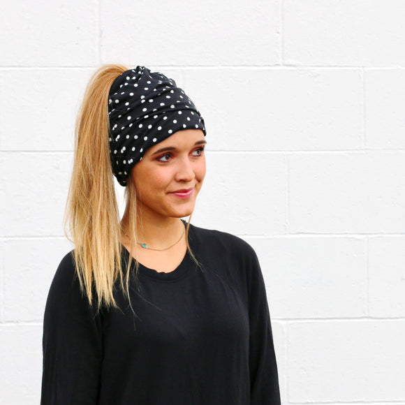 Black Polka Dot Peek-a-Boo Beanie