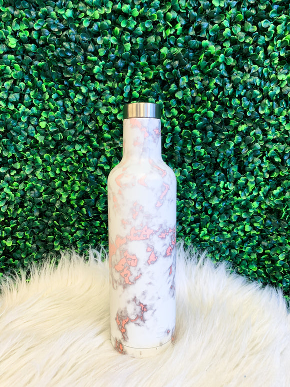 Insulated Wine Bottle- Rose Gold Marble