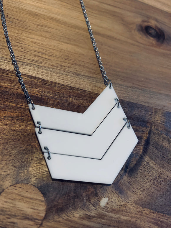 Large White Chevron Necklace
