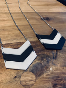 Large White And Black Chevron Necklace