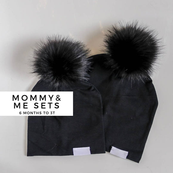 Black on Black Beanie- Adult & Toddler Set
