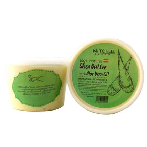 100% Natural Shea Butter Jar Enhanced With Aloe Vera.