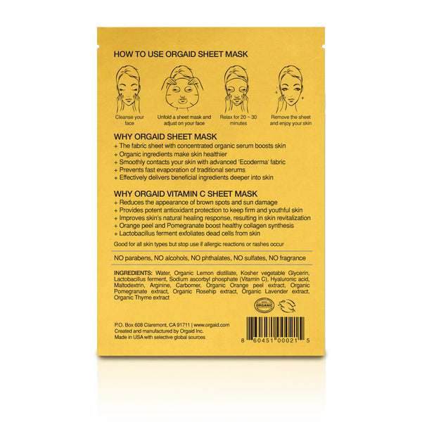 VITAMIN C & REVITALIZING ORGANIC SHEET MASK BOX (4 SHEETS)