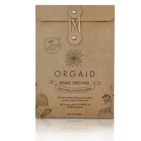 Orgaid ANTI-AGING & MOISTURIZING ORGANIC SHEET MASK BOX (4 SHEETS)