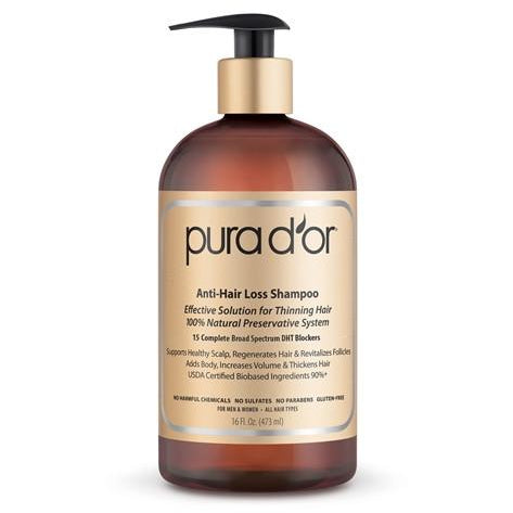 PURA D'OR Anti-Hair Loss Premium Organic Argan Oil Shampoo (Gold Label), 16 oz