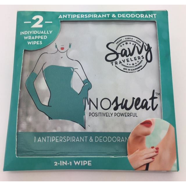 Savvy Travelers - NO SWEAT POWERFUL ANTIPERSPIRANT And  DEODORANT WIPES