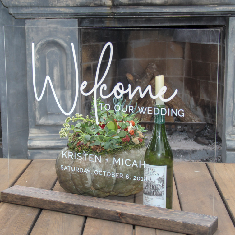 Modern Script Acrylic Wedding Welcome Sign | Rich Design Co