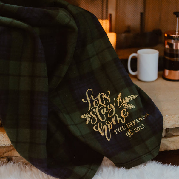 CLEARANCE! Personalized Green Plaid Blanket | Rich Design Co