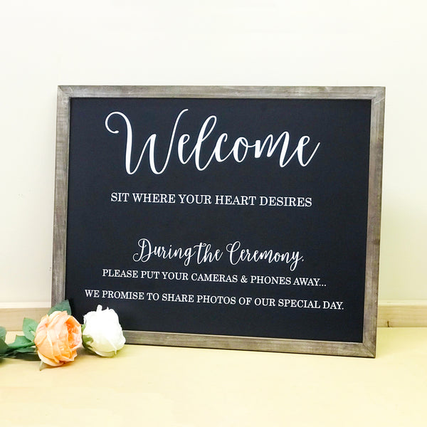 Welcome Chalkboard Sign with Unplugged Ceremony Details | Rich Design Co