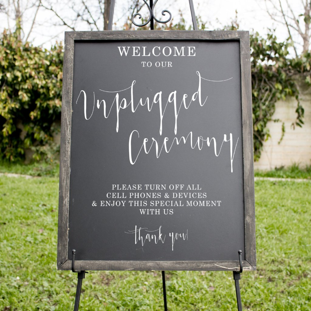 Unplugged Ceremony Wedding Chalkboard Sign | Rich Design Co