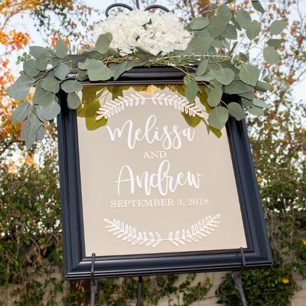 Personalized Wedding Welcome Mirror, Gold or Silver Mirror | Rich Design Co