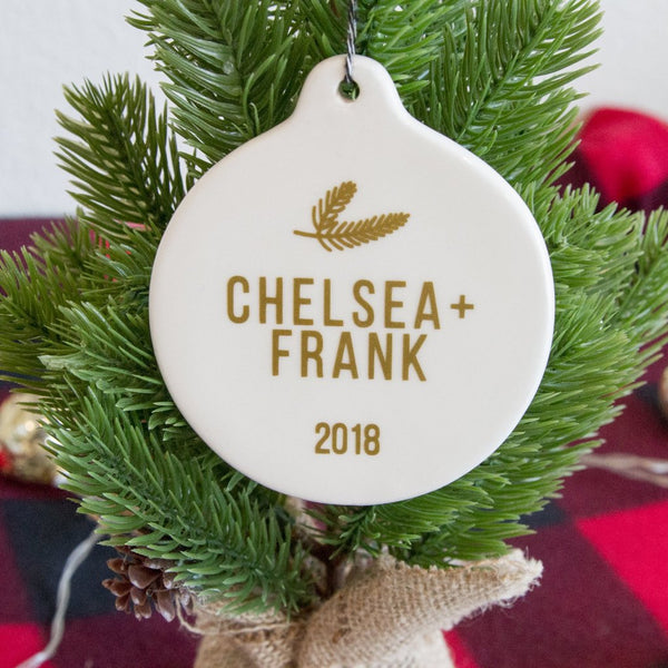 Personalized Ceramic Couples Christmas Tree Ornament | Rich Design Co