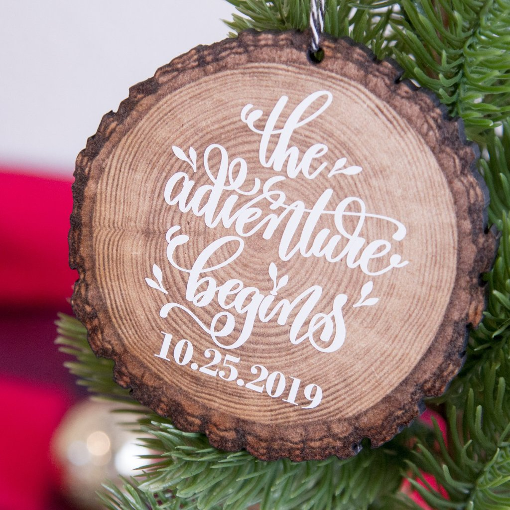 The Adventure Begins Personalized Wood Slice Christmas Tree Ornament | Rich Design Co
