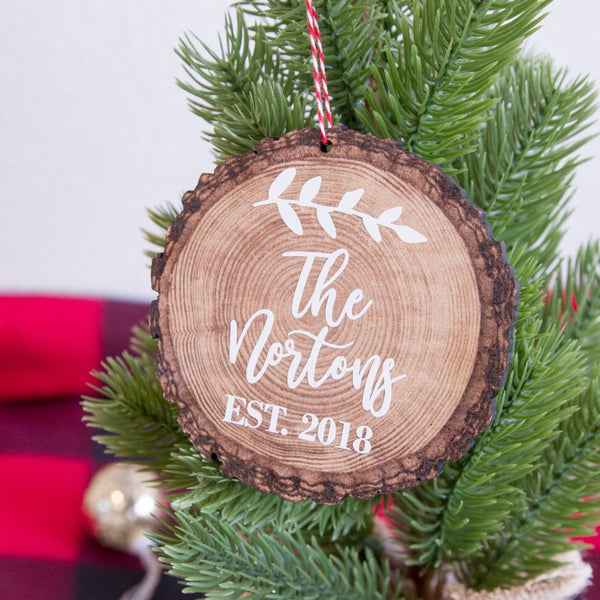 Family Name Personalized Wood Slice Christmas Tree Ornament | Rich Design Co
