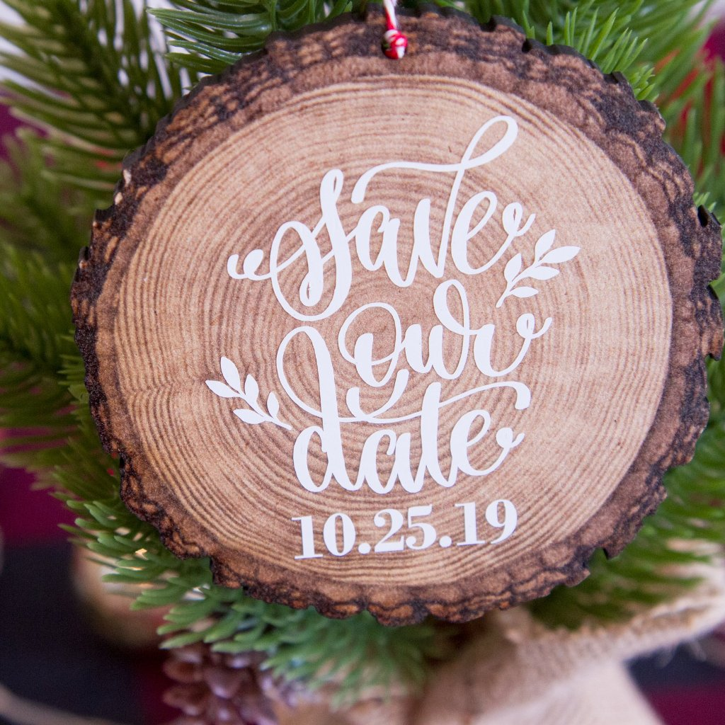Save the Date Personalized Wood Slice Christmas Tree Ornament, Engagement Photo Prop | Rich Design Co