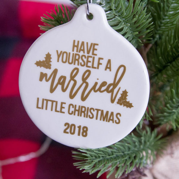 Married Little Christmas White Ceramic Christmas Tree Ornament | Rich Design Co