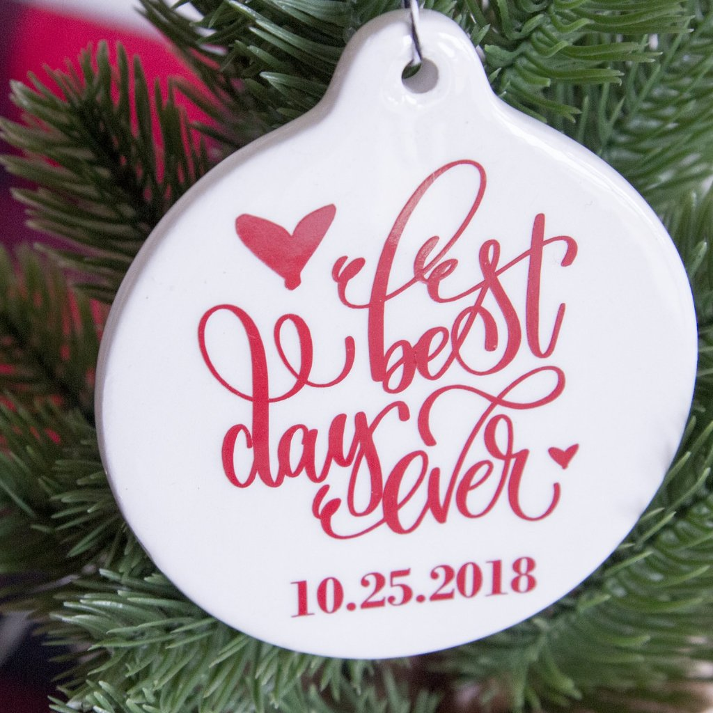 Best Day Ever White Ceramic Christmas Tree Ornament | Rich Design Co