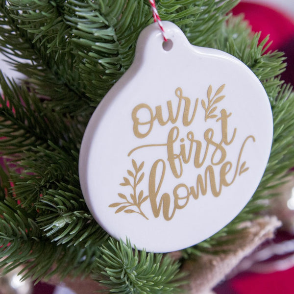 Our First Home Personalized White Ceramic Christmas Tree Ornament | Rich Design Co