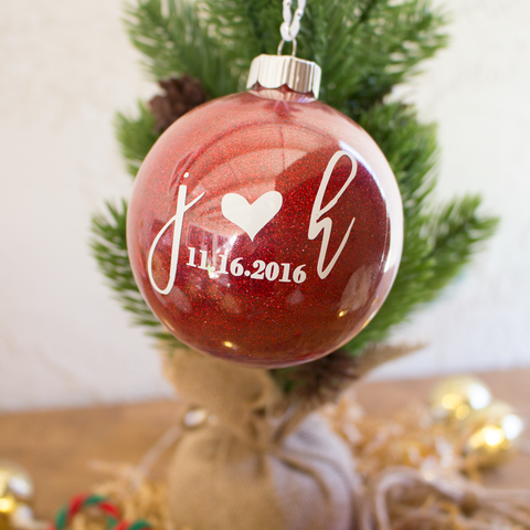 Engagement, Wedding or Anniversary Date Christmas Ornament