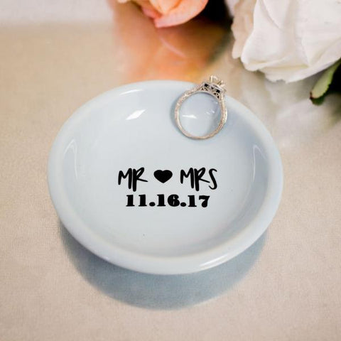 Mr. & Mrs. Wedding Ring Dish with Wedding Date