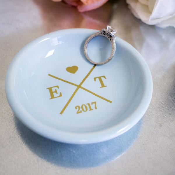 wedding ring dish with initials and date rich design co - Wedding Ring Dish