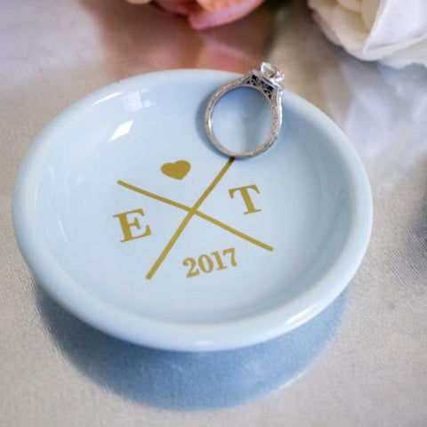 Wedding Ring Dish with Initials and Date