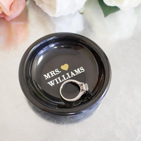 Personalized Mrs. Wedding Ring Dish
