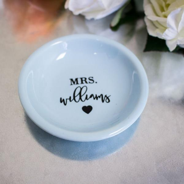 Personalized Wedding Ring Dish with Heart