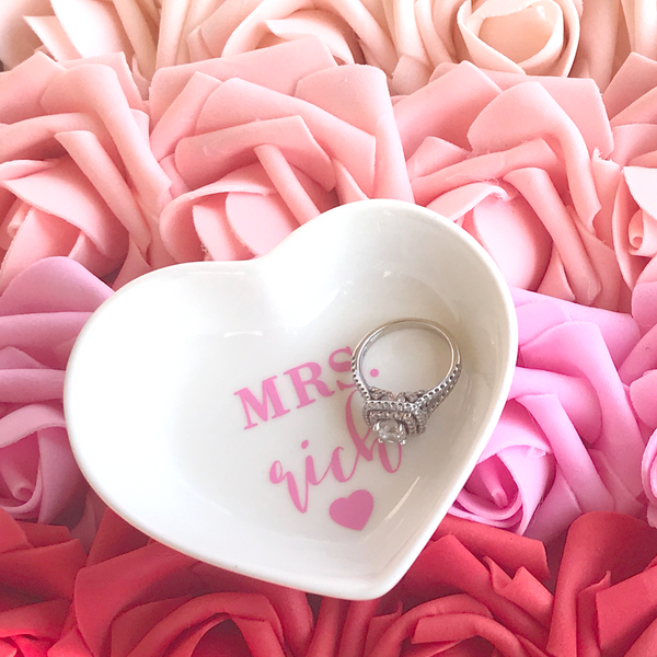 Heart Shaped Personalized Mrs Ring Dish | Rich Design Co