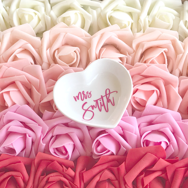 Heart Shaped Jewelry Dish with Personalized Name | Rich Design Co