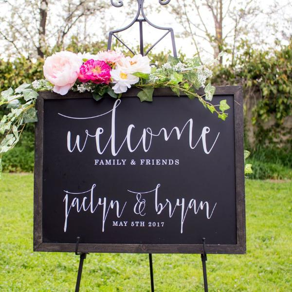 Chalkboard Wedding Welcome Sign with Personalization