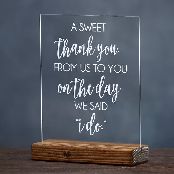 A Sweet Thank You From Us to You Candy Table Wedding Sign - Rich Design Co