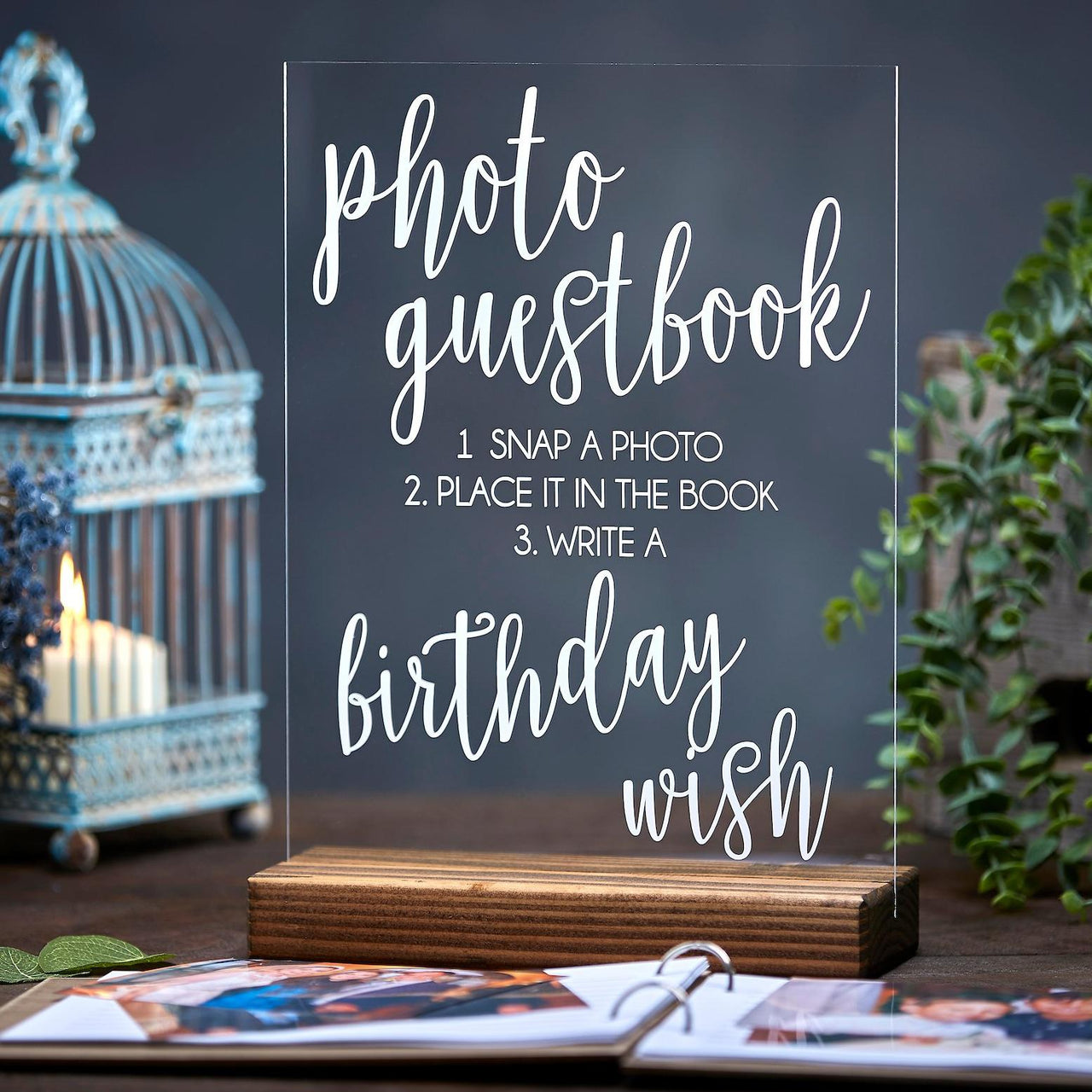 Acrylic Photo Guestbook Sign For Birthdays - Rich Design Co