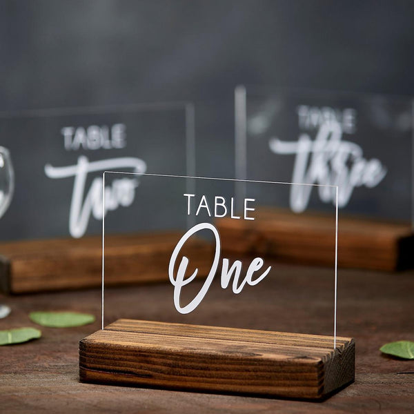 Acrylic Table Numbers with Modern Script Font and Wood Base - Rich Design Co