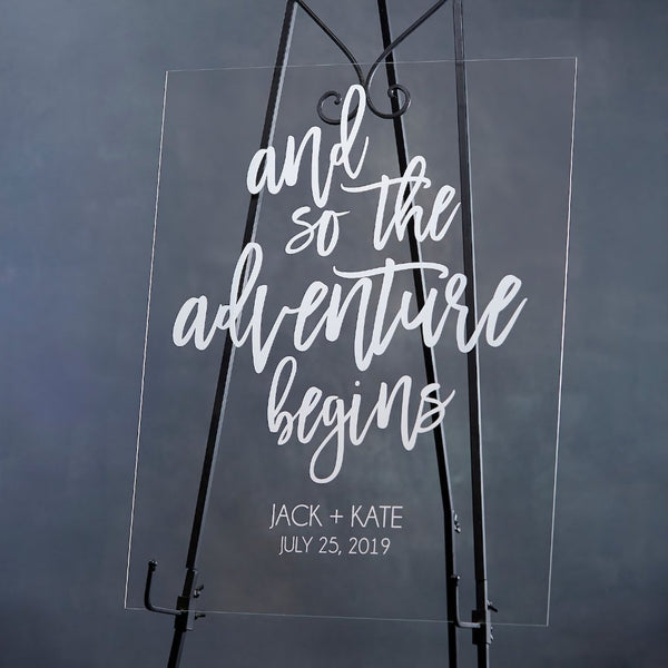 And So The Adventure Begins Modern Acrylic Welcome Sign - Rich Design Co