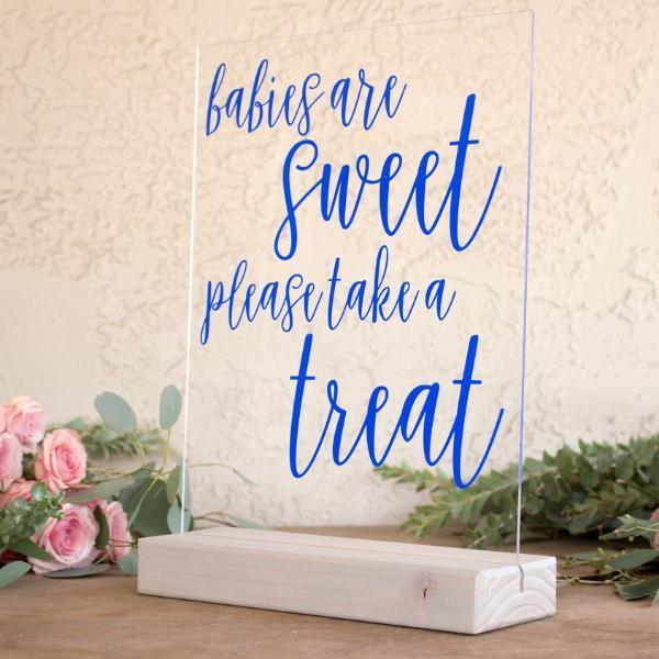 Babies are Sweet, Take a Treat Acrylic Baby Shower Sign - Rich Design Co