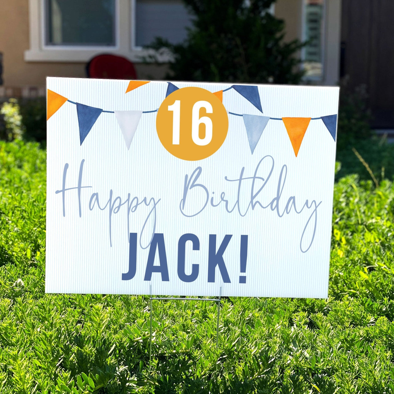 Blue & Orange Flags Personalized Birthday Yard Sign - Rich Design Co