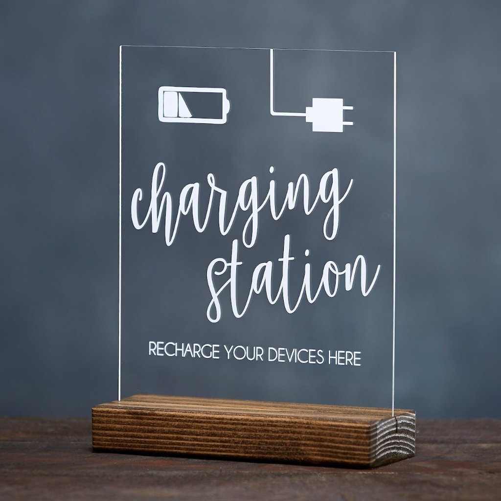 Charging Station Acrylic Sign - Rich Design Co