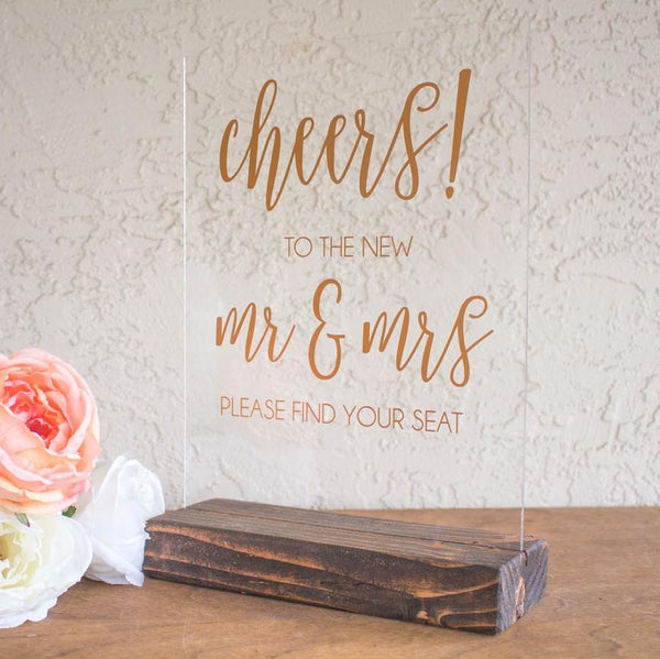 """Cheers!"" Acrylic Wedding Sign - Rich Design Co"
