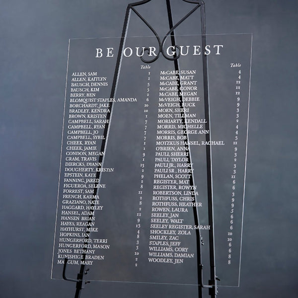 "Clear Acrylic ""Be Our Guest"" Seating Chart Sign - Rich Design Co"