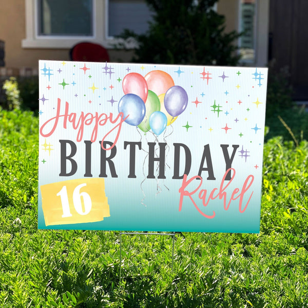Colorful Balloons Personalized Birthday Yard Sign - Rich Design Co