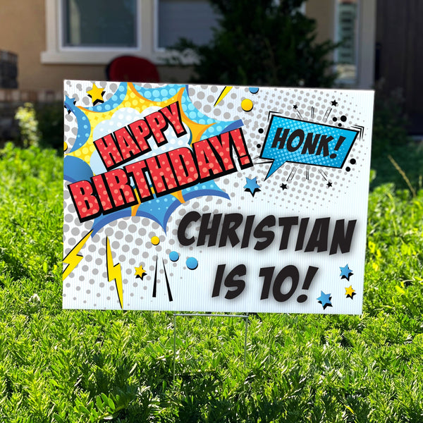 Comic Book Birthday Yard Sign - Rich Design Co