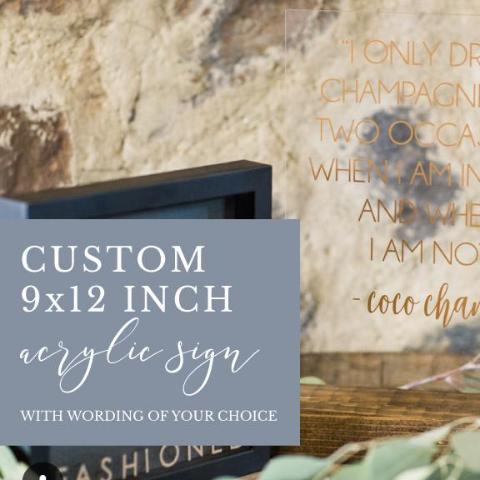 Custom 9x12 Acrylic Sign with Wood Base, Wording of Your Choice - Rich Design Co