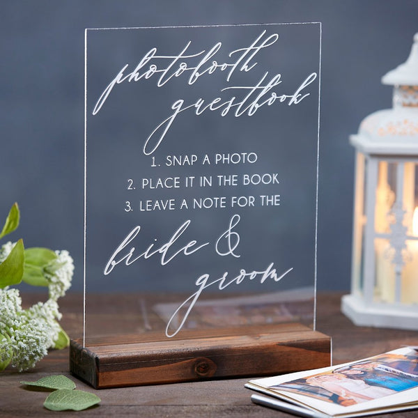 Elegant Photobooth Guestbook Wedding Sign - Rich Design Co