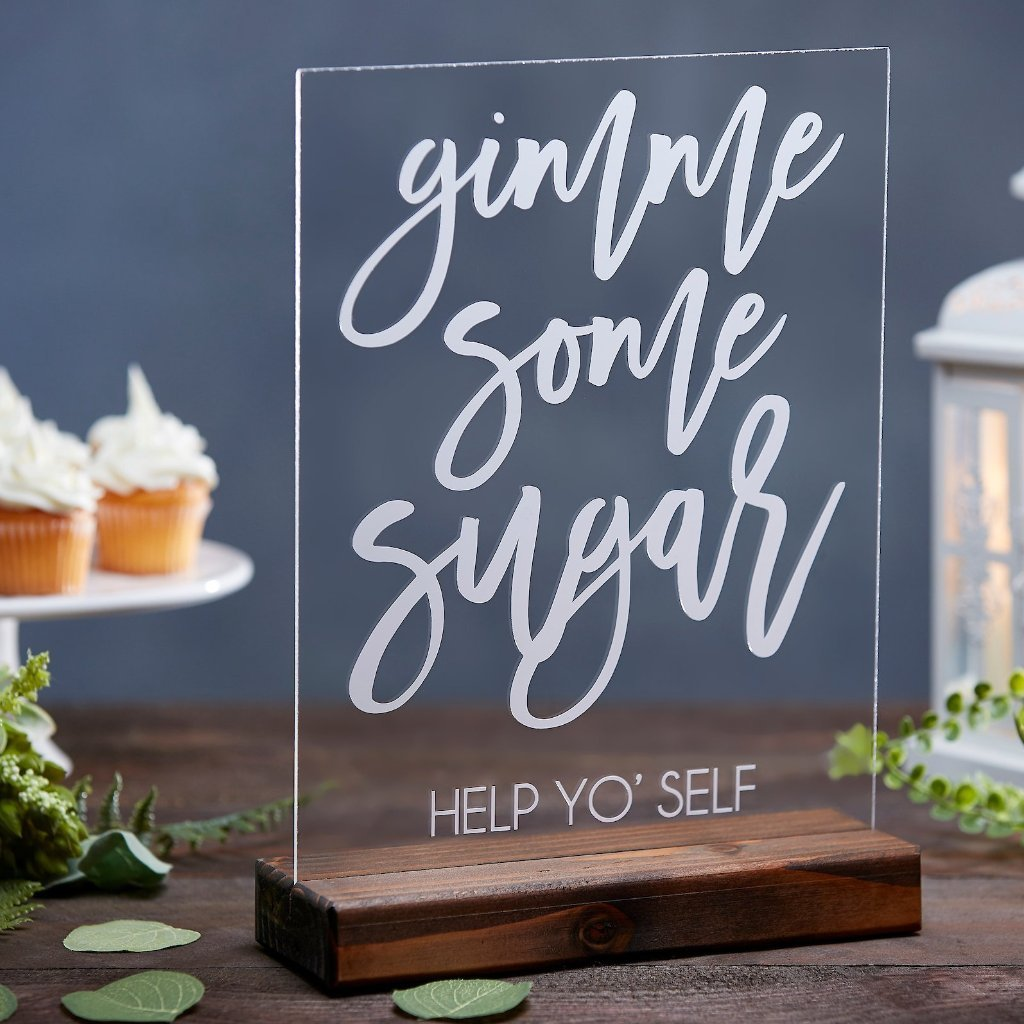 Gimme Some Sugar Acrylic Dessert Table Wedding Sign - Rich Design Co