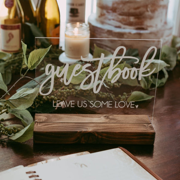 Guest Book Table Acrylic Wedding Sign - Rich Design Co