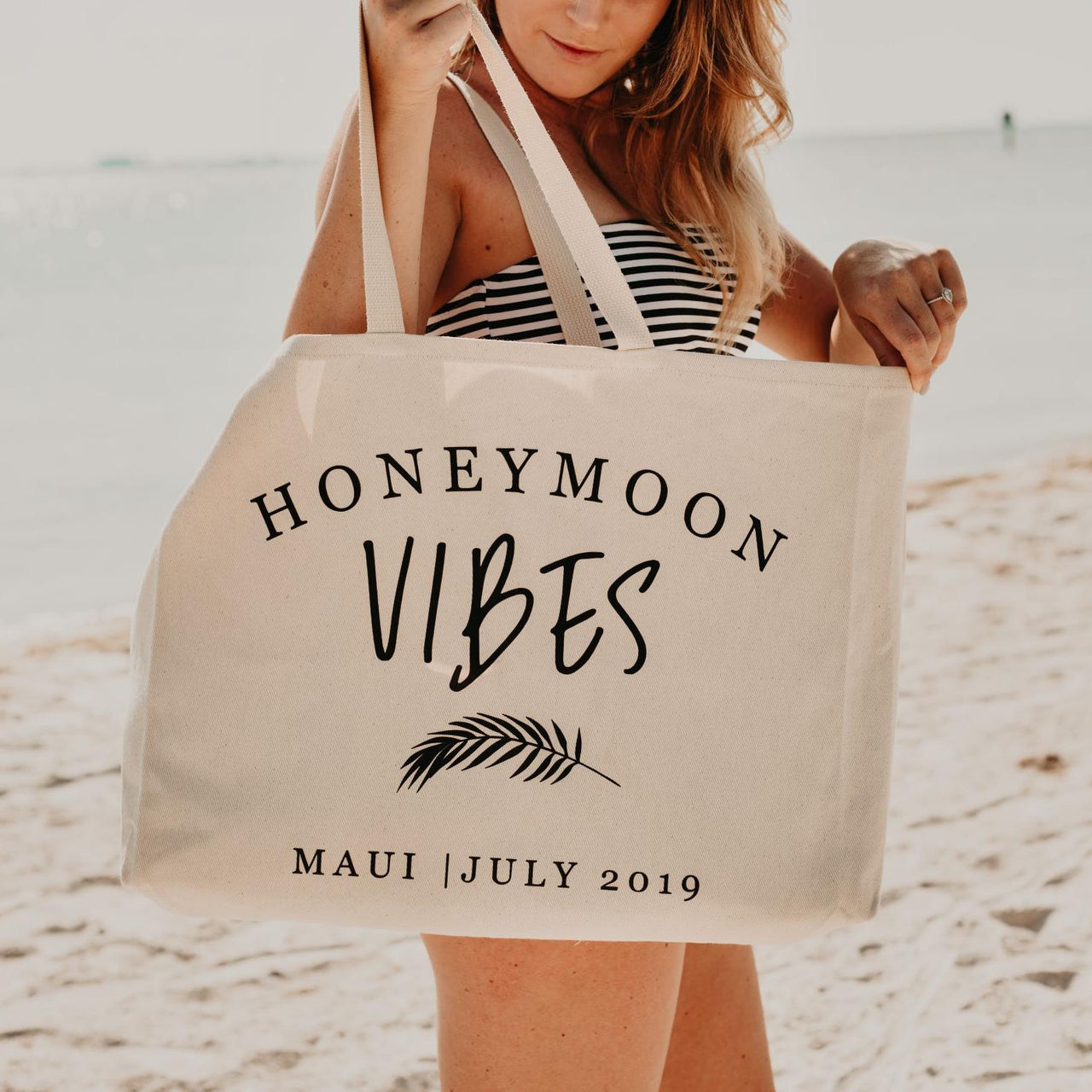 Honeymoon Vibes Personalized Canvas Beach Bag for Newlyweds - Rich Design Co