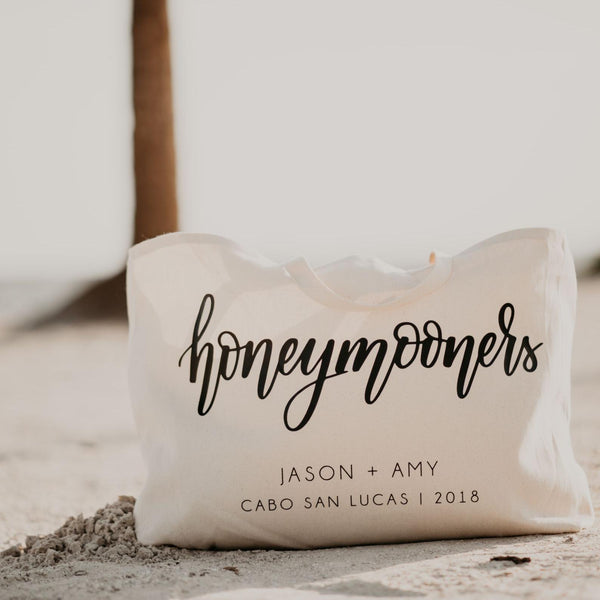Honeymooners Personalized Canvas Beach Bag for Newlyweds - Rich Design Co
