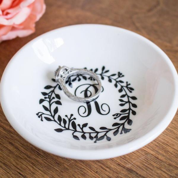 Monogrammed Engagement Ring Dish