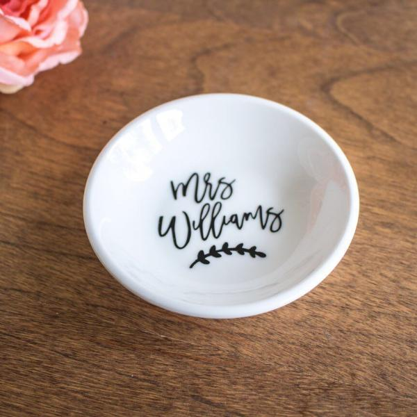 Personalized Mrs Round Ring Dish | Rich Design Co